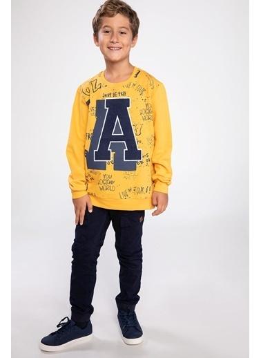 DeFacto A Baskılı Yazı Desenli Sweatshirt Sarı